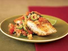 Grouper with tomato-olive sauce