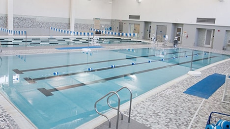 The center has a fitness pool and a 25-yard, four-lane lap pool.