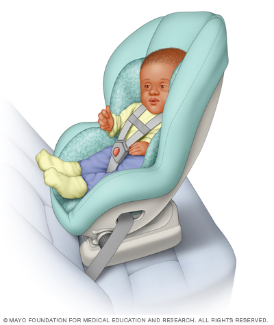 Illustration of a baby in a convertible car seat