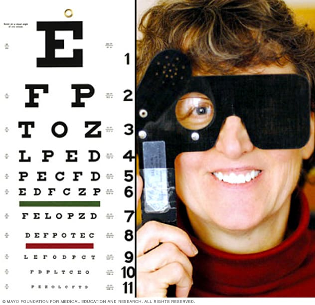 A woman undergoing visual acuity assessment