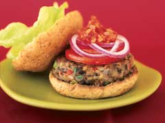 Black bean burgers with chipotle ketchup