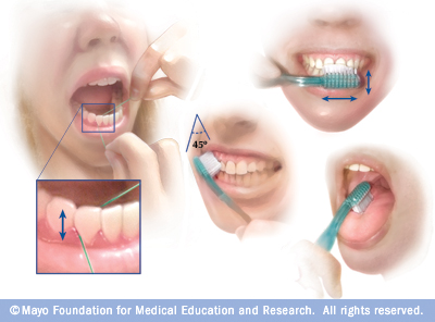 Photo collage: Brushing and flossing for oral health