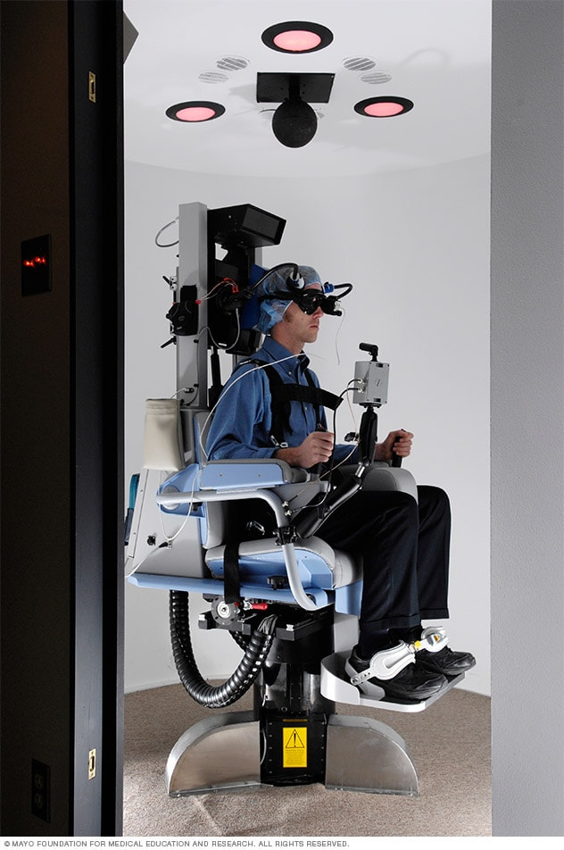 Person undergoing rotary chair test