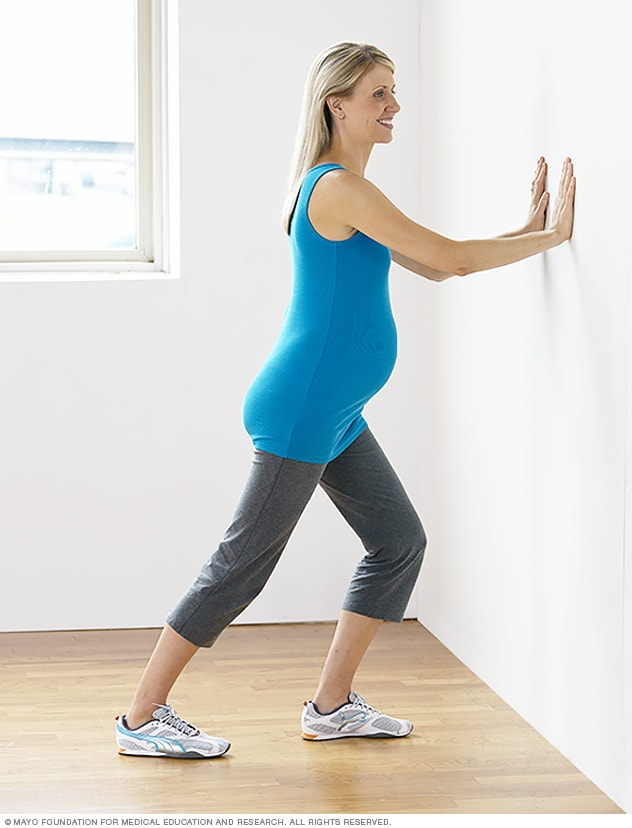Photo of leg cramp stretch during pregnancy