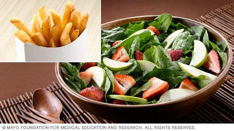 French fries versus spinach and fruit salad