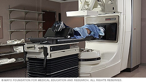 Photo of a person undergoing radiation therapy