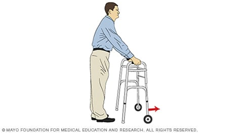 Illustration of a person pushing a walker forward