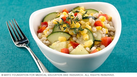 Bowl of corn and barley salad