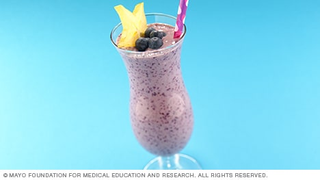 Glass of blueberry-banana smoothie