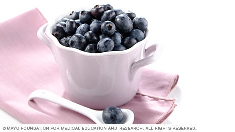 Small bowl of fresh blueberries