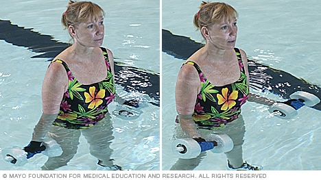 Photo of woman doing arm exercise using water weights