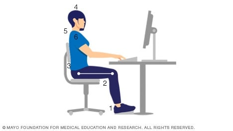 Woman demonstrating good sitting posture