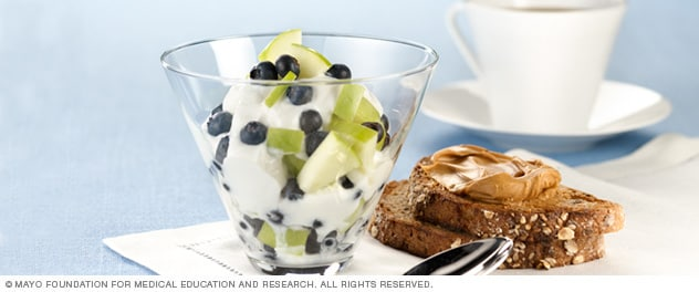 Yogurt with fruit and whole-grain toast