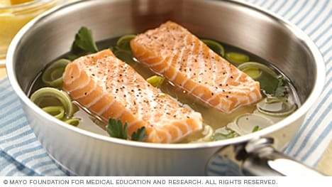 Salmon fillets ready for poaching
