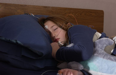 Image of patient participating in pediatric sleep study