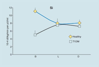 Graph of diurnal patterns of insulin Si (insulin sensitivity index)