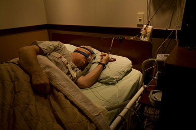 Image of polysomnography for patient in sleep lab