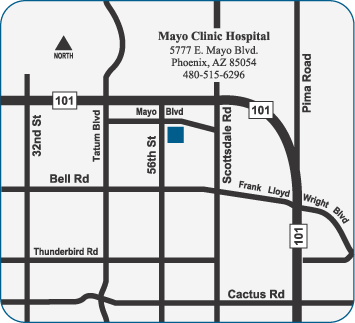 Map to Mayo Clinic Hospital in Arizona