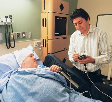 Patient and provider in epilepsy monitoring unit