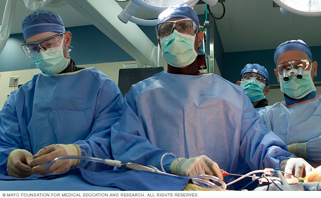 Doctors and surgeons work as a team to conduct a procedure at Mayo Clinic.
