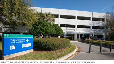 Patient and Visitor Parking Ramp entrance at Mayo Clinic's campus in Florida