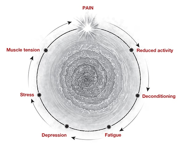 Graphic of POTS-associated pain and fatigue symptoms