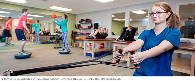 Photo of teens in physical therapy