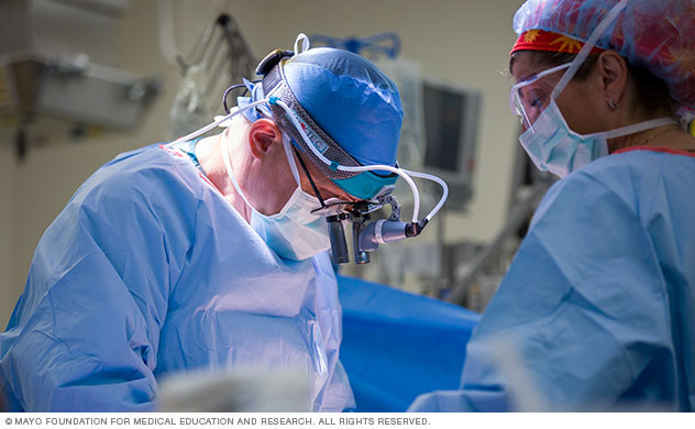 A surgeon and surgical team during surgery