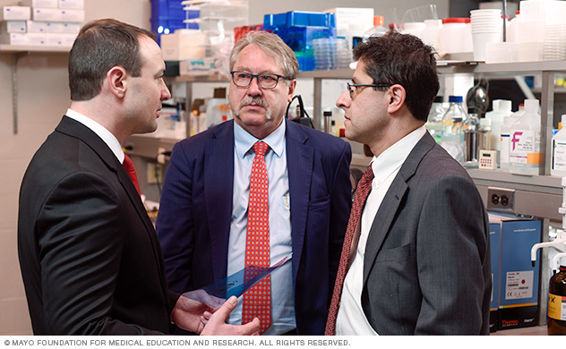Image shows members of the pancreatic cancer team discussing a patient