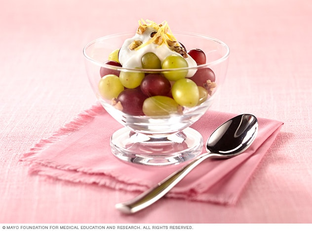 Fruit and yogurt in a bowl