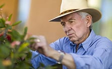 picture of Duane Baumann tending plants