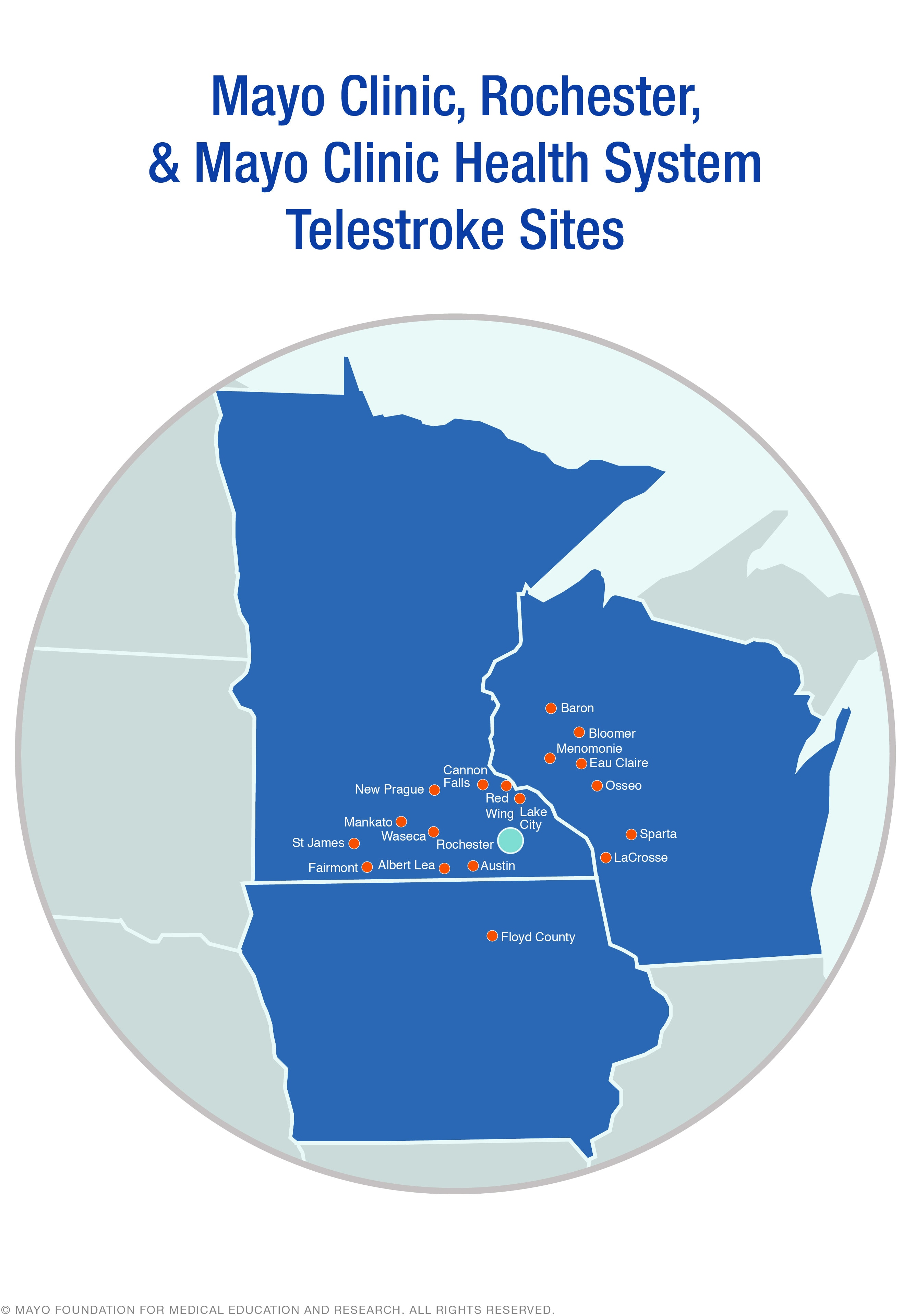 Map of Mayo Clinic stroke telemedicine originating and distant sites