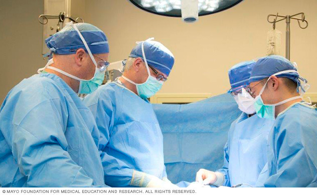 An endocrine surgery team perform in the operating room.