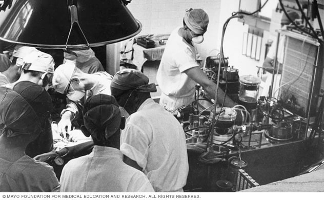An operation in progress during the 1950s using one of the world's first heart-lung bypass machines