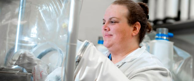 Research technologist Lisa Till in the Gut Microbiome Laboratory of Dr. Purna Kashyap at Mayo Clinic