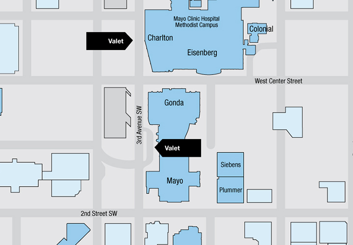 Valet parking map for Downtown Campus of Mayo Clinic in Rochester, Minnesota