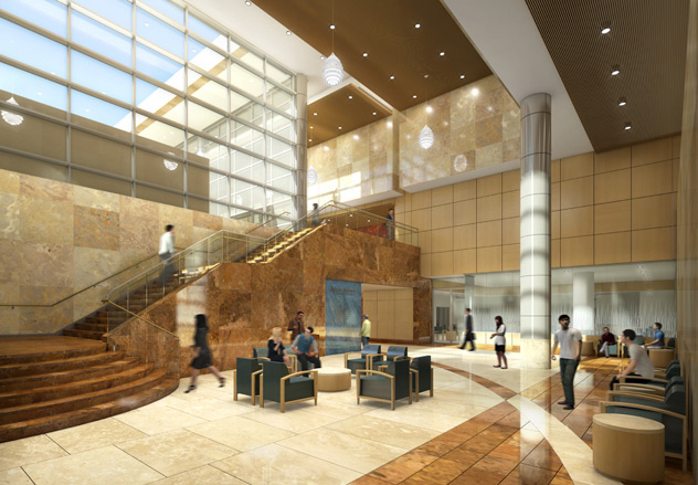 Illustration of the lobby of the proton beam treatment facility at Mayo Clinic in Minnesota