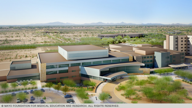 Architect's rendering of new proton beam therapy facility in Arizona.