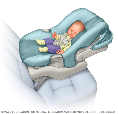 Illustration of a baby in an infant-only car seat