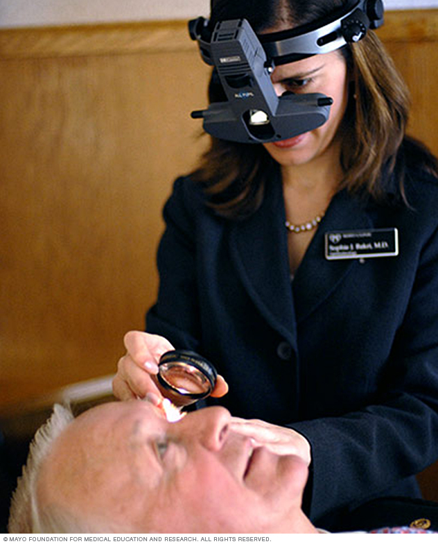 Photo of a man undergoing indirect ophthalmoscopy