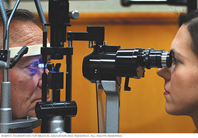 Photo of a man undergoing applanation tonometry test