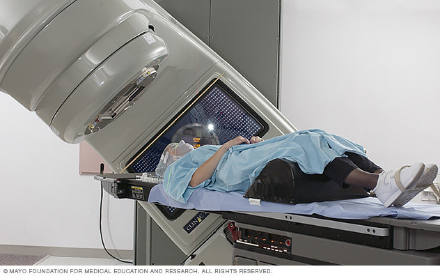 Photo of a person receiving radiation therapy