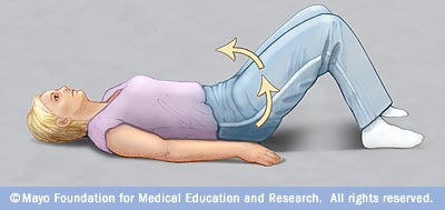 Illustration of pelvic tilt exercise