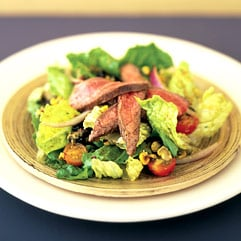 Grilled flank steak salad with roasted corn vinaigrette
