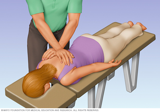 Illustration showing person receiving a chiropractic adjustment