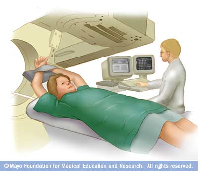 Illustration of a person undergoing a HIDA scan
