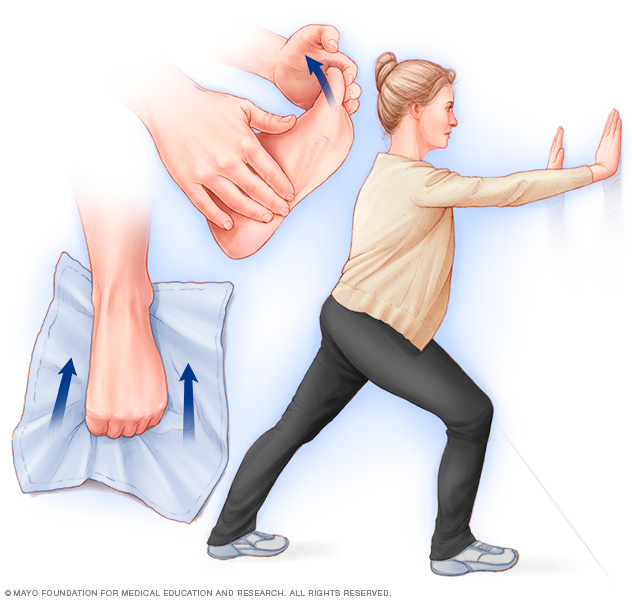 Illustration showing four foot stretches to prevent heel pain