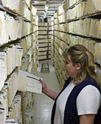 Woman pulling paper files from long row of files