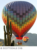 Photo of hot air balloon over Arizona desert.