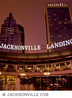 Photo of Jacksonville, Fla, downtown skyline at night.